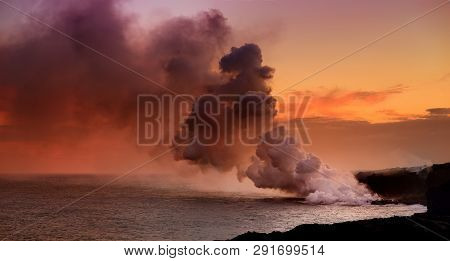 Lava Pouring Into The Ocean Creating A Huge Poisonous Plume Of Smoke At Hawaii's Kilauea Volcano, Vo