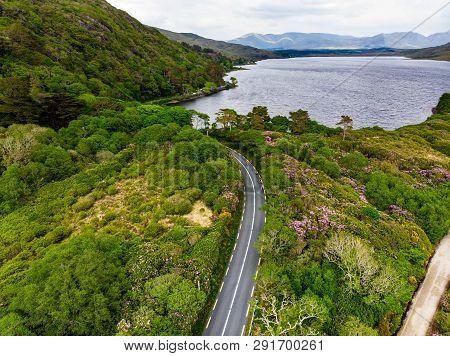 Professional Cyclists Competing In Connemara Region In Ireland. Scenic Irish Countryside Landscape W