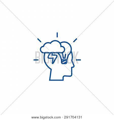 Brainstorm Head Line Icon Concept. Brainstorm Head Flat  Vector Symbol, Sign, Outline Illustration.