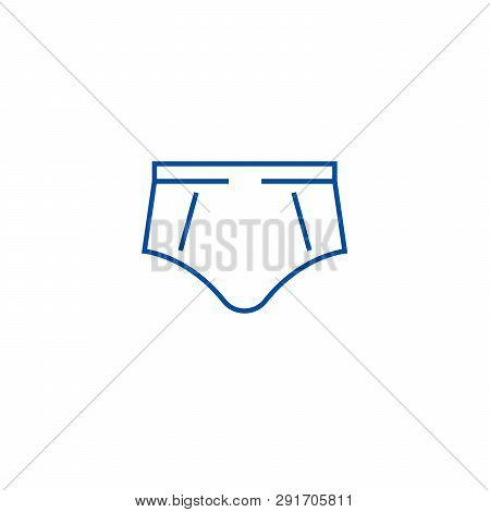 Brief Underpants Line Icon Concept. Brief Underpants Flat  Vector Symbol, Sign, Outline Illustration