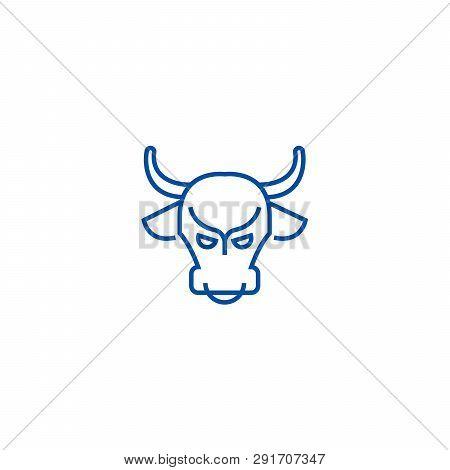 Bull Market, Stock Market, Bullish Line Icon Concept. Bull Market, Stock Market, Bullish Flat  Vecto