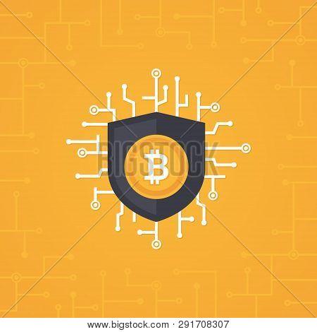 Bit-coin Security Flat Vector Concept