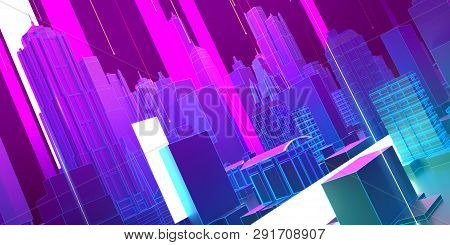 Abstract 3d City Rendering With Lines And Digital Elements Retro Wave Synth Wave High Tech Music Pos
