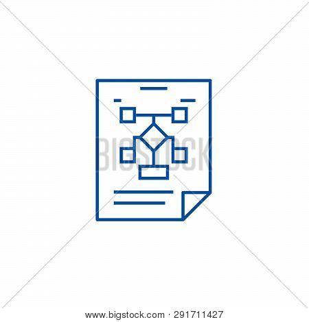 Business Organization, Flow Chart Line Icon Concept. Business Organization, Flow Chart Flat  Vector
