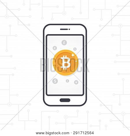 Flat Thin Design With Smartphone And Gold Bitcoin