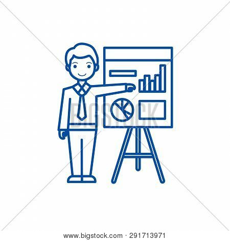 Businessman Showing Presentation Board Line Icon Concept. Businessman Showing Presentation Board Fla
