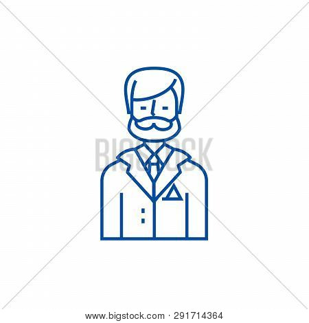 Businessman, Business Lawyer, Legal Adviser Line Icon Concept. Businessman, Business Lawyer, Legal A