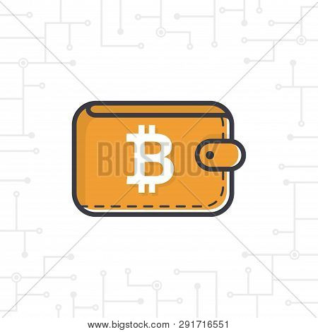 Vector Brown Bit-coin Wallet With Coin On White Background