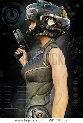 Portrait Side View Of A Futuristic Female Warrior With Digital Effect Elements. 3d Rendering