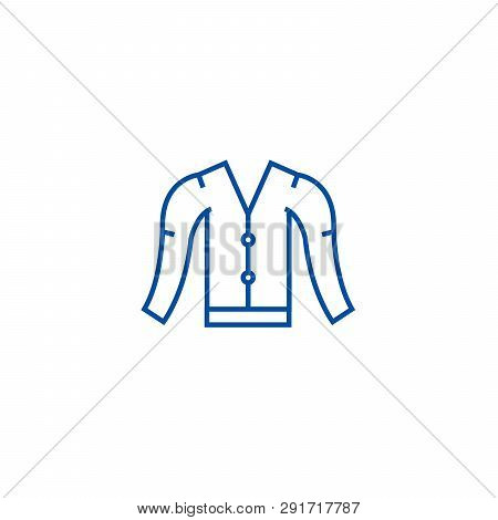 Cardigan Line Icon Concept. Cardigan Flat  Vector Symbol, Sign, Outline Illustration.