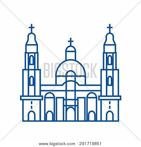 Cathedral Church Line Icon Concept. Cathedral Church Flat  Vector Symbol, Sign, Outline Illustration