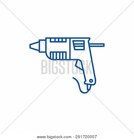 Caulk Gun, Glue Gun Line Icon Concept. Caulk Gun, Glue Gun Flat  Vector Symbol, Sign, Outline Illust