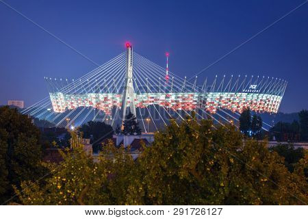 Warsaw, Poland - September 5, 2018:  PGE Narodowy - Polish National Stadium in Warsaw at the Vistula river. Designed and built for UEFA EURO 2012 tournament is biggest soccer stadium in Poland.