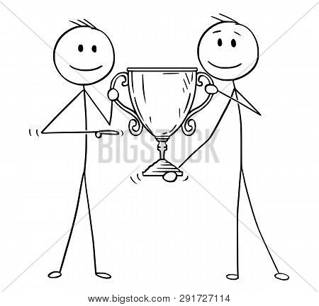 Cartoon Stick Figure Drawing Conceptual Illustration Of Two Men Or Businessmen Holding Together Trop