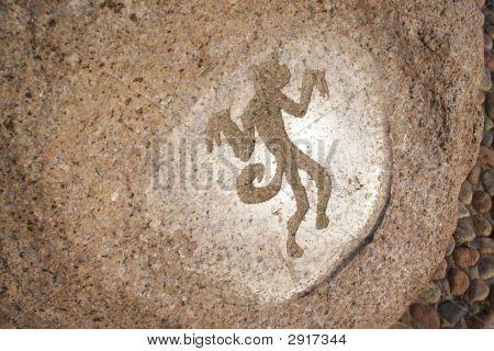 Monkey - Primitive Art Draving On Stone