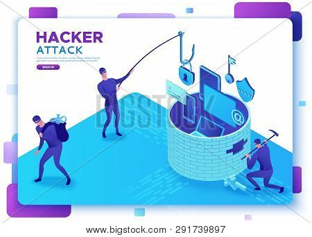 Hacker Attack, Mobile Security Concept, Data Protection, Cyber Crime, 3d Isometric Vector Illustrati