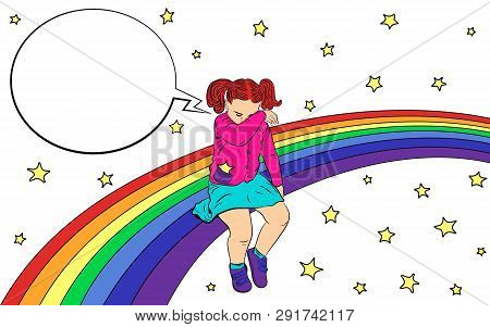Sad Kid On The Rainbow. The Girl Was Offended, Sad And Crying. With Speech Bubble. Vector Illustrati