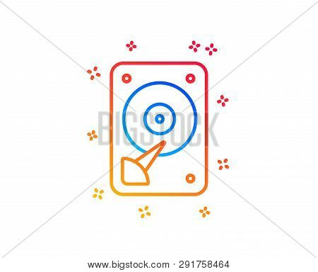 Hdd Icon. Hard Disk Storage Sign. Hard Drive Memory Symbol. Gradient Design Elements. Linear Hdd Ico