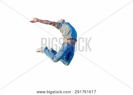 Image Of Young Athletic Man Jumping Isolated On White Background