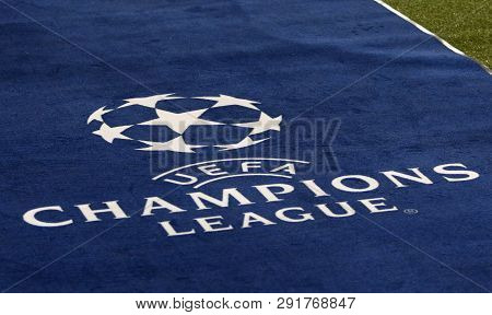 Kharkiv, Ukraine - October 23, 2018: Official Uefa Champions League Logo On The Carpet During The Ue