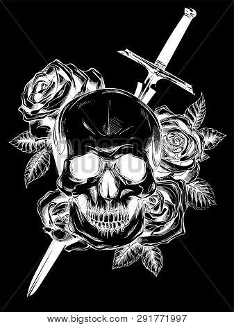 A Human Skull With Roses On Black Background