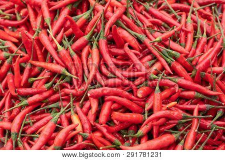 Red Chili Pepper Heap Close-up In A Chinese Market, Chengdu, China