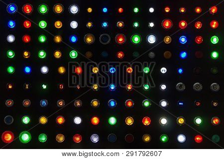 Many Kind Colorful Sample Of Status Lamp Or Push Button Switch For Show Emblem Or Signal Industrial