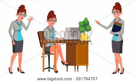 Office Worker . Woman. Secretary, Accountant. Happy Clerk, Servant, Employee. Office Generator. Situ