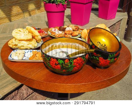 Kazakh National Food On The Round Table