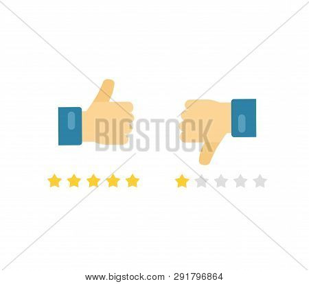Like Or Dislike Fingers Vector Icons, Flat Cartoon Hands With Thumb Up And Thumb Down Symbols, Conce