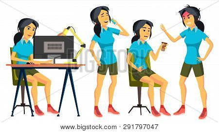 Office Worker . Woman. Successful Officer, Clerk, Servant. Asiatic, China. Japanese Adult Business W