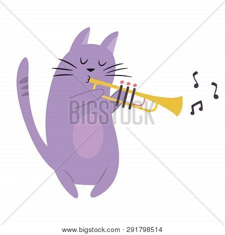 Funny Cat Playing Trombone. Vector Illustration. Character Design. Pet Collection