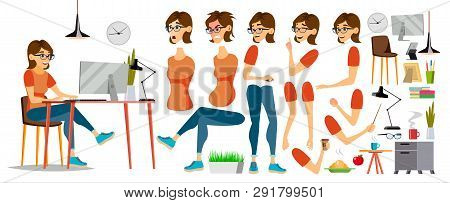 Business Woman Character . Working Female Girl. Clerk Working At Office Desk. Animation Set. Attract