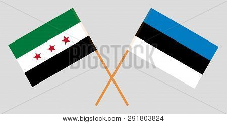 Syria Interim Government And Estonia. The Syrian Coalition And Estonian Flags. Official Proportion.