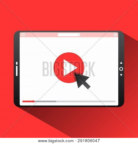 Click Play The Video Here Vector Thumbnail For Opening Video Background. Video Conference And Webina