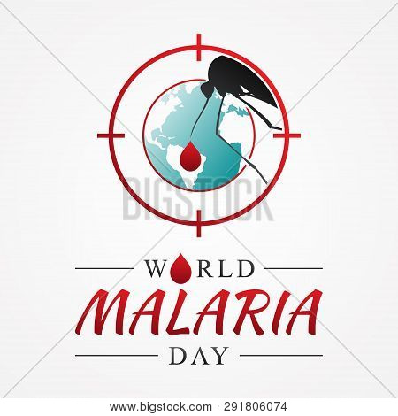 World Malaria Day With Graphic Target Mosquito. International Holiday Concept Design Vector. Vector