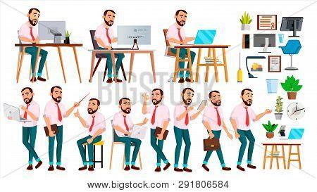 Office Worker . Face Emotions, Various Gestures. Creation Set. Adult Entrepreneur Business Man. Happ
