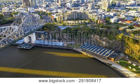 Brisbane, Australia - February 22 2019: Arial View Looking Down On The Story Bridge And The Howard S