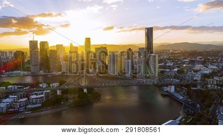 Brisbane, Australia - February 22 2019: Colourful Sunset Over Brisbane Cityscape, Aerial View With T