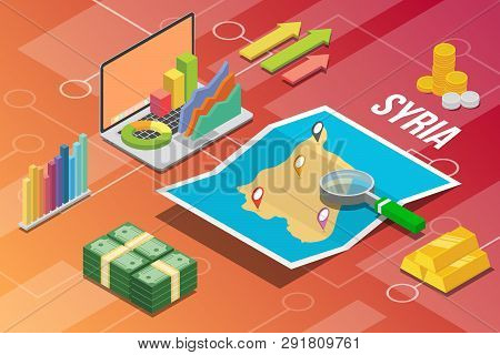 Syria Syrian Arab Republic Isometric Business Economy Growth Country With Map And Finance Condition