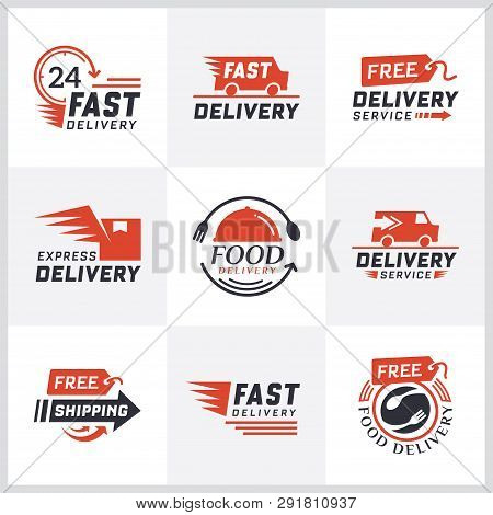 Worldwide Shipping, Delivery Signs And Logo. Signs And Labels Free Delivery. Fast Delivery Logotype.