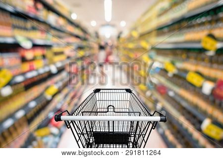 Abstract Defocus Blurred Of Consumer Goods In Supermarket Grocery Store., Business Retail And Custom