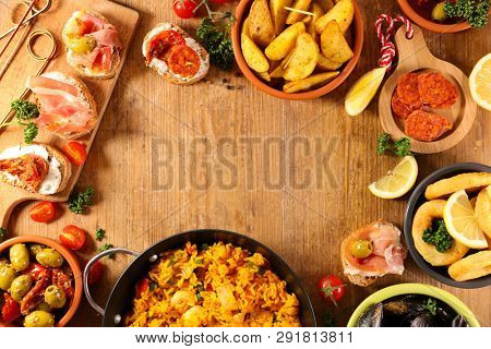 tapas, potato bravas, mussel and paella, assorted of spanish food