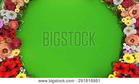 Ring Of Flowers On A Green Background.