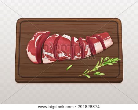 Raw Marbled Meat Fillet Sliced On Pieces Or Portions To Cook Steak Or Grill With Spices On Wooden Cu