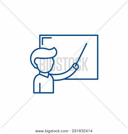 Teacher At The School Board Line Icon Concept. Teacher At The School Board Flat  Vector Symbol, Sign