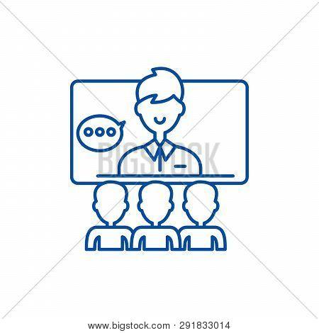 Teleconference Line Icon Concept. Teleconference Flat  Vector Symbol, Sign, Outline Illustration.