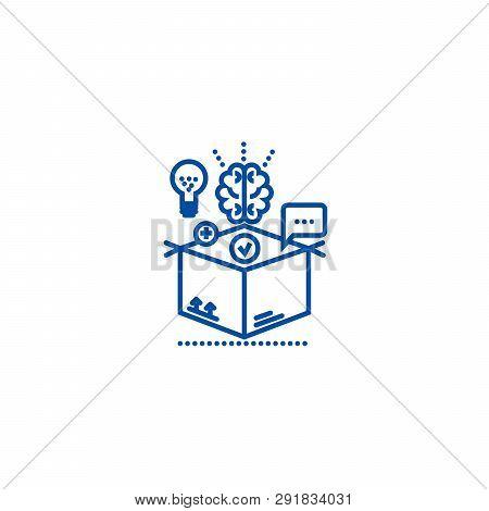 Thinking Outside Box, Idea Management Line Icon Concept. Thinking Outside Box, Idea Management Flat