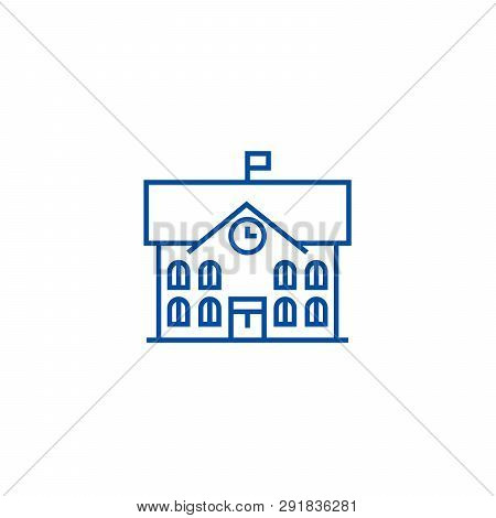 Town Hall, City Hall Line Icon Concept. Town Hall, City Hall Flat  Vector Symbol, Sign, Outline Illu