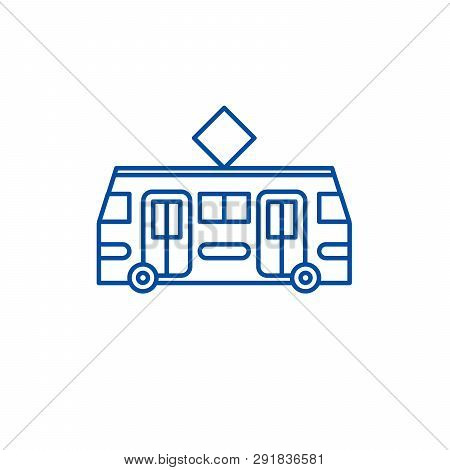 Tramway Line Icon Concept. Tramway Flat  Vector Symbol, Sign, Outline Illustration.
